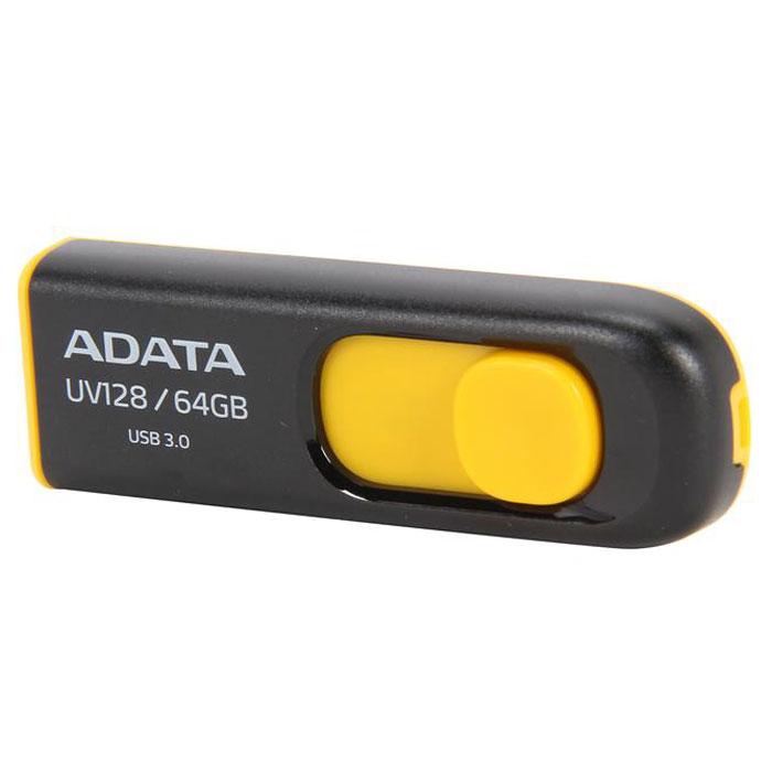 ADATA UV128 64GB, Black Yellow USB-���������� - ADATAAUV128-64G-RBYADATA UV128 - USB-���������� � ������� ��������. �������������� ����������� ��������� �������� � ������� ��������. USB-������ ����������� ����� �����, ��� ����� ������, ����� �������� �������� ������� ��������. ���������������� ��������� USB 3.0 ��� ������������� �������� ������ ������������ �������� ������ �� 90 ���� � ������� � �������� ������ �� 40 ���� � ������� ��� ���������� ������ �������� ������������� � ������� USB 2.0. ������� ������ - �������� � ������������. �������� ����� ���� ����� ������ �� ������ � ����������� �������.