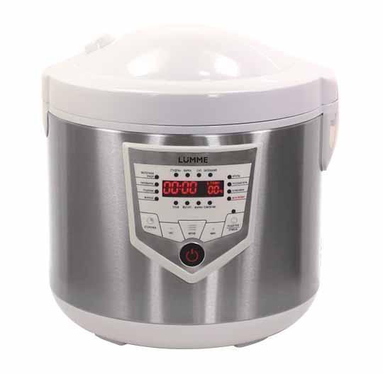 Lumme LU-1446, White Steel мультиваркаLU-1446 Silver-WhiteМультиварка Lumme LU-1446 - это компактный прибор, который способен заменить множество кухонной техники. 5-литровая чаша с антипригарным покрытием позволяет приготовить здоровые и полноценные завтрак, обед и ужин для всей семьи, требуя минимального присутствия человека на кухне. От вас требуется минимум усилий, необходимо лишь поместить в нее продукты и задать программу приготовления. И все - можно заниматься другими делами. Еда приготовится точно в назначенный срок, например, к приходу с работы. Ничего страшного, если вы задержитесь - прибор сам отключится и перейдет в режим подогрева. Это означает, что еду не придется лишний раз разогревать. Можно отложить начало приготовления вплоть до 24 часов. Герметичная чаша сохраняет все полезные вещества в продуктах.