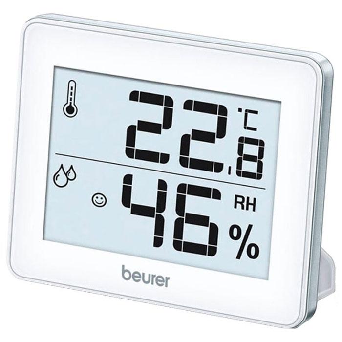 Beurer HM16 гигрометр16Цифровой термогигрометр Beurer HM16 измеряет не только температуру и влажность воздуха, но и сохраняет максимальное и минимальное из измеренных значений. Прибор может быть повешен на стену или установлен на стол. Для удобства использования предусмотрен большой дисплей (7,4 х 5 см), индикация в зависимости от температуры и влажности, настольная подставка а также отверстие для подвешивания. Предусмотрен выбор шкалы по Цельсию или Фаренгейту для измерения температуры. Точность измерения : ±1°С Влажность: от 20% до 95%