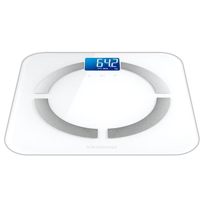 Medisana BS 430 Connect диагностические весы (40422)BS 430Medisana BS 430 Connect - Современные весы линейки Connect способны проанализировать процентную долю костной ткани, мышечной массы, жиров и жидкости в организме благодаря высокочувствительным электродам из нержавеющей стали. Крупный хорошо читаемый LCD дисплей с подсветкой сделает повседневное использование весов максимально удобным. В прибор встроено четыре высокоточных, устойчивых к скольжению датчика. Передача данных может осуществляется в сервис VitaDock Online через приложение VitaDock для мобильных устройств с платформами iOS и Android.