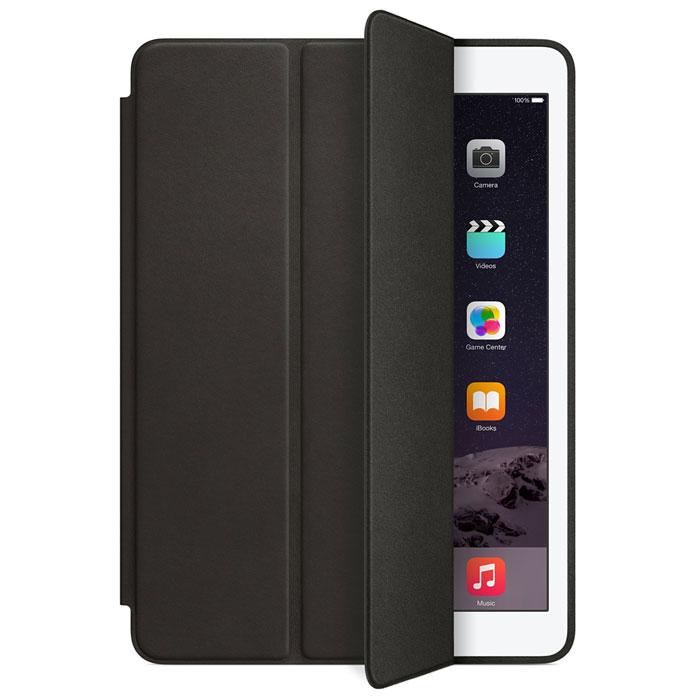 Apple Smart Case чехол для iPad Air 2, BlackMGTV2ZM/AЧехол Smart Case для iPad Air 2 защищает дисплей и заднюю сторону — при этом iPad Air 2 остаётся таким же тонким и лёгким. Чехол изготовлен из великолепной анилиновой кожи. Его мягкая подкладка из микрофибры помогает поддерживать экран в чистоте. Продуманная конструкция чехла позволяет сложить его и превратить в идеальную подставку для общения в FaceTime и просмотра фильмов. Чехол Smart Case также может служить подставкой для набора текста. Сложите чехол, чтобы установить iPad Air 2 с удобным наклоном.
