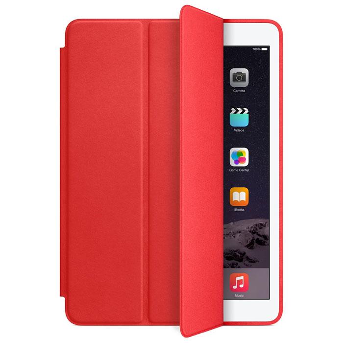 Apple Smart Case чехол для iPad Air 2, RedMGTW2ZM/AЧехол Smart Case для iPad Air 2 защищает дисплей и заднюю сторону — при этом iPad Air 2 остаётся таким же тонким и лёгким. Чехол изготовлен из великолепной анилиновой кожи. Его мягкая подкладка из микрофибры помогает поддерживать экран в чистоте. Продуманная конструкция чехла позволяет сложить его и превратить в идеальную подставку для общения в FaceTime и просмотра фильмов. Чехол Smart Case также может служить подставкой для набора текста. Сложите чехол, чтобы установить iPad Air 2 с удобным наклоном.