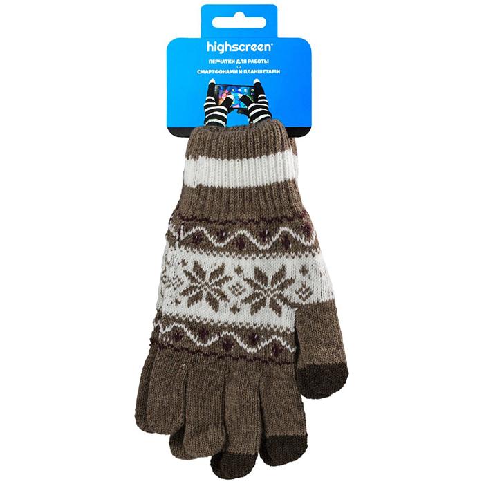 Highscreen Flower Series перчатки для сенсорных экранов, Mocco (ID03-149COF)22322Перчатки Highscreen Flower Series - специально предназначены для работы со смартфонами и планшетами в холодное время года. Кончики пальцев прошиты по специальной технологии, что позволяет работать с сенсорными экранами, не снимая перчаток. Универсальный размер, дизайн подходит как для женщин, так и для мужчин.