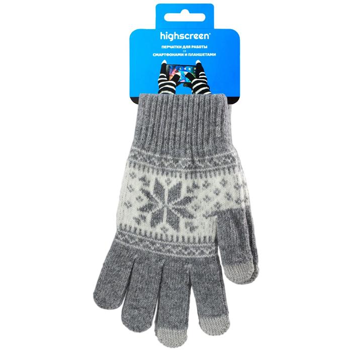 Highscreen Snowflake Series перчатки для сенсорных экранов, Gray (ID03-101GRY) ( 22326 )