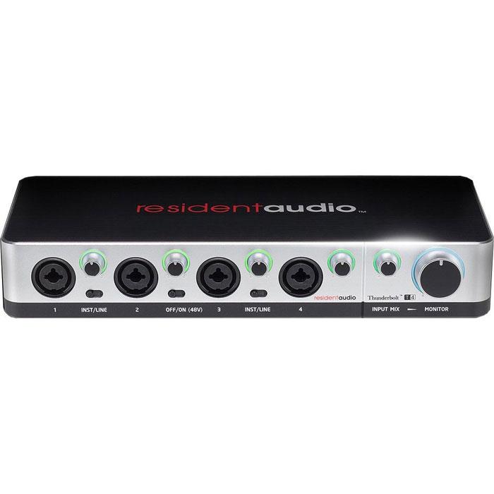 Resident Audio T4 аудиоинтерфейсT4Resident Audio T4 - это внешний 4-канальный Thunderbolt звуковой интерфейс на шине Thunderbolt от бренда Resident Audio - новой американской компании, которая заявила о себе на рынке с линейкой качественных звуковых интерфейсов. Новинка оснащена прочным алюминиевым корпусом. Устройство может применяться как основной аудио интерфейс для персональных студий и диджеинга. Resident Audio T4 работает на на шине Thunderbolt - самой быстрой на сегодняшний день шине, которая в то же время обеспечивает в 4 раза большую мощность питания от 10 Вт до 18 Вольт, что дает возможность использовать более мощные и качественные, но «прожорливые» элементы в схеме аудио интерфейса. Например, чтобы сделать мощный предусилитель, усилитель на наушники или обеспечить фантомное питание сразу для нескольких микрофонов. Имеется также подсветка для каждого регулятора. Аудиоинтерфейс работает в операционных системах Mac OS X 10.9 и Windows 8 (или выше).