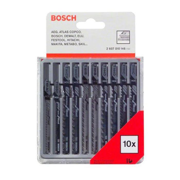 Набор пилок по дереву Bosch, Т-образный хвостик, 10 шт2607010146Набор пилок Bosch 2.607.010.146 предназначен для быстрых, грубых, тонких, параллельных и криволинейных пропилов в дереве и пластике. Пилки имеют хвостовик с одним упором. Изготовлены из высокоуглеродистой стали HCS. В набор входят 10 полотен: - 2 полотна T 101 B; - 1 полотно T 101 AO; - 2 полотна T 111 C; - 1 полотно T 119 BO; - 2 полотна T 144 D; - 2 полотна T 144 DP.