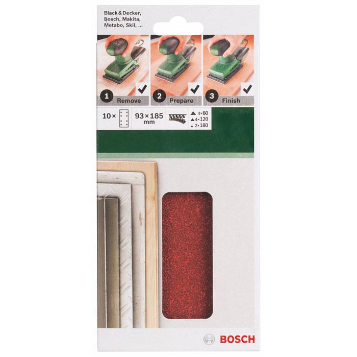 Набор шлифовальных листов Bosch, 93 х 185 мм, зерно 60/120/180, 10 шт2609256A86