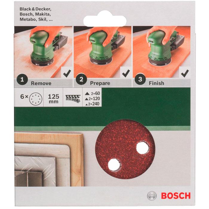 Набор шлифовальных кругов Bosch, 125 мм, зерно 60/120/240, 6 шт2609256A28