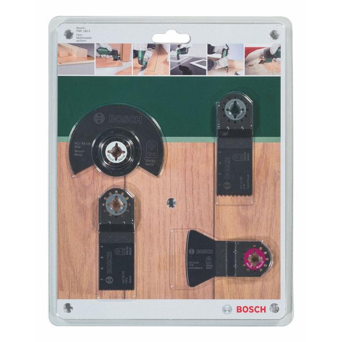Набор оснастки по дереву Bosch для PMF, 4 шт2609256979Набор оснастки по дереву Bosch для PMF способен выполнять самые различные технологические операции, такие, как пиление, шлифовка, резка, полировка. В набор входят: - Сегментированный пильный диск по древесине и металлу BIM ACZ 85 EB (85 мм), - Погружное пильное полотно по твердой древесине BIM AIZ 32 BB (32 x 40 мм), - Погружное пильное полотно по древесине HCS AIZ 32 EC (32 x 40 мм), - Жесткий шабер HCS ATZ 52 SC (52 x 26 мм).