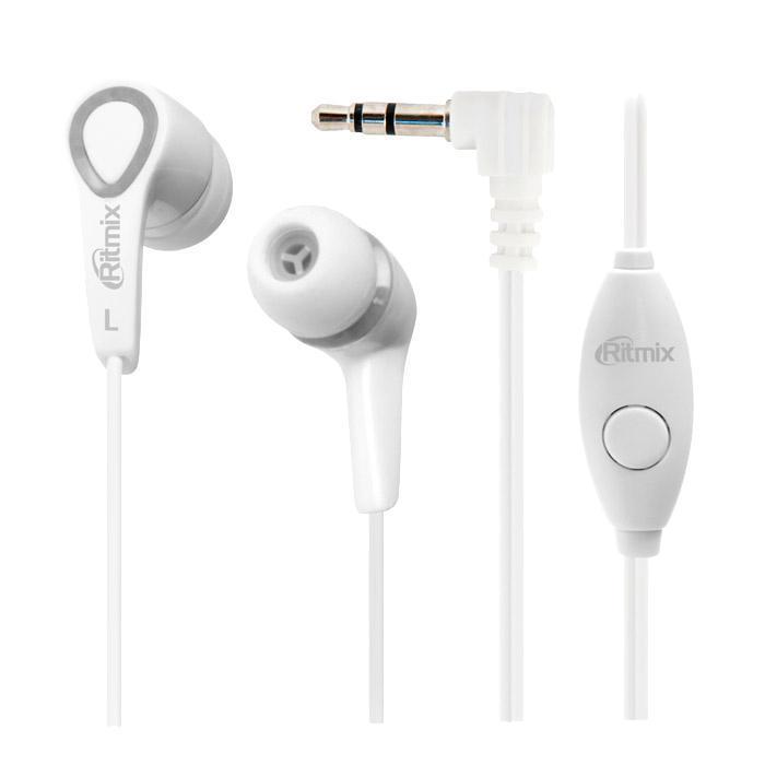 Ritmix RH-105M, White наушники с функцией гарнитурыRH-105M, WhiteRitmix RH-105M – это портативные наушники-вкладыши с функцией гарнитуры. Кабель стандартной длины оснащён микрофоном, кнопкой управления функциями телефона и штекером Г-образной формы. Особенности Качественный сбалансированный звук Микрофон на проводе Кнопка управления функциями телефона