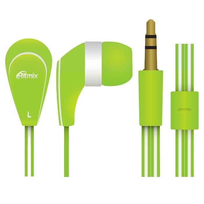 Ritmix RH-181, Green наушникиRH-181, GreenRitmix RH-181 – это портативные наушники-вкладыши с плоским проводом. Модель характеризуется качественным сбалансированным звучанием.
