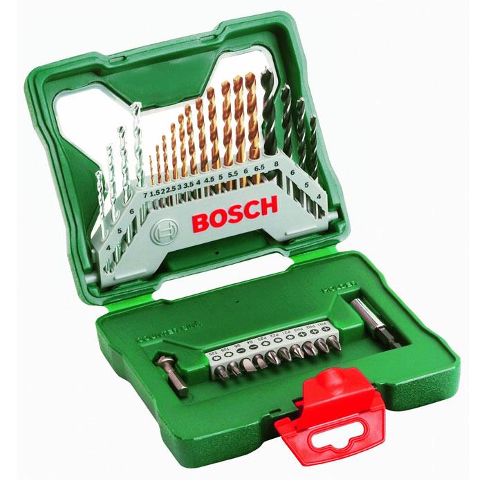 Набор бит и сверл Bosch X-Line, 30 предметов2607019324Набор бит и сверл BOSCH X-LINE 30 TITANIUM (2 607 019 324) включает 30 предметов: - 11 сверл по металлу HSS-TiN O 1,5-6,5 мм, - 4 сверла по камню HM O 4/5/6/7 мм, - 4 сверла по древесине O 4/5/6/8 мм, - 10 насадок-бит L=25 мм PH 1/2/3 PZ 1/2/3 SL 4/6 Т 20/25, - Универсальный магнитный держатель, - Зенкер.