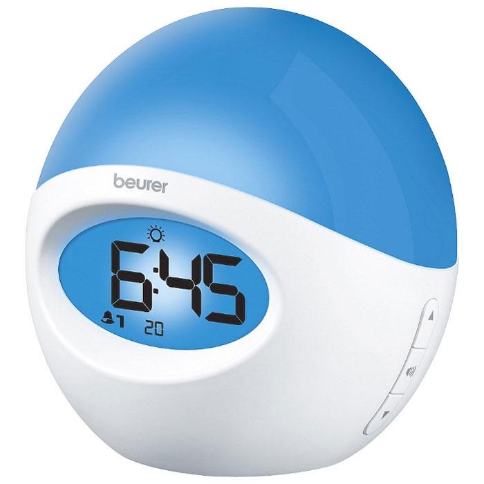 Beurer WL32 световой будильник32Beurer WL 32 - стильный будильник, который всегда разбудит вас в нужное время. Данные часы будут хорошим подарком родным и близким. В качестве сигнала будильника вы можете поставить звуки природы или выбрать одну из ваших любимых радиостанций. Естественное пробуждение происходит благодаря постепенно возрастающей яркости света. Также его можно использовать в качестве ночника. С помощью кабеля AUX вы можете подключить к прибору MP3-плеер. Отображение времени: электронное (цифровое) Резервное питание: от батареек Функция повтора сигнала (5-60 мин) Подсветка Имитация восхода солнца (15 или 30 мин) Финальное пробуждение при помощи радио или сигнала будильника Возможность установки двух сигналов