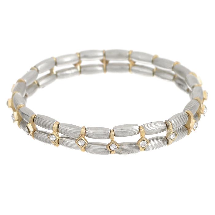 Браслет Bora, цвет: серебряный, золотой. T-B-8423-BRAC-RH.CRYSTALT-B-8423-BRAC-RH.CRYSTALТрендовый женский браслет Bora выполнен из металлического сплава меди, цинка и железа. Изделие состоит из двух нитей, оформленных декоративными скобами со стразами. Эластичная прочная резинка позволит идеально зафиксировать модель на руке. Это стильное украшение элегантно завершит модный образ и подчеркнет ваш утонченный вкус.