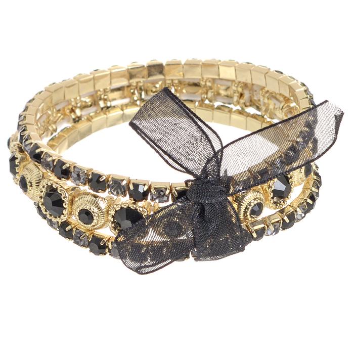 Браслет Bora, цвет: золотой, черный, фиолетовый. T-B-8384-BRAC-GL.JETT-B-8384-BRAC-GL.JETИзысканный женский браслет Bora изготовлен из металлического сплава меди, цинка и железа. Он оформлен искусственными камнями и стразами. Изделие состоит из трех нитей, соединенных изящной лентой, завязанной в бант. Эластичная резинка обеспечивает идеальную посадку модели на руке. Браслет легко надевать и снимать. Это украшение позволит вам с легкостью воплотить самую смелую фантазию и создать собственный неповторимый образ. Красивое и необычное украшение блестяще подчеркнет ваш изысканный вкус и поможет внести разнообразие в привычный образ.