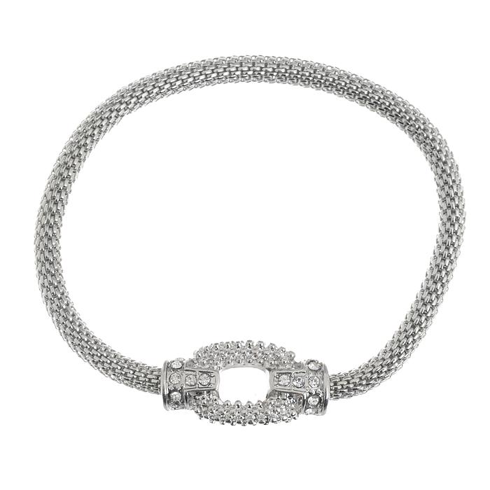 Браслет AtStyle247, цвет: серебряный. T-B-6693-BRAC-SL.CRYSTALT-B-6693-BRAC-SL.CRYSTALСтильный женский браслет AtStyle247 выполнен из металлического сплава и оформлен декоративным элементом, напоминающим застежку, украшенную стразами. Эластичная резинка, расположенная под металлическим каркасом браслета, обеспечивает оптимальную посадку модели на руке. Это оригинальное и красивое украшение внесет изюминку в повседневный образ, а также подчеркнет ваш изысканный вкус.