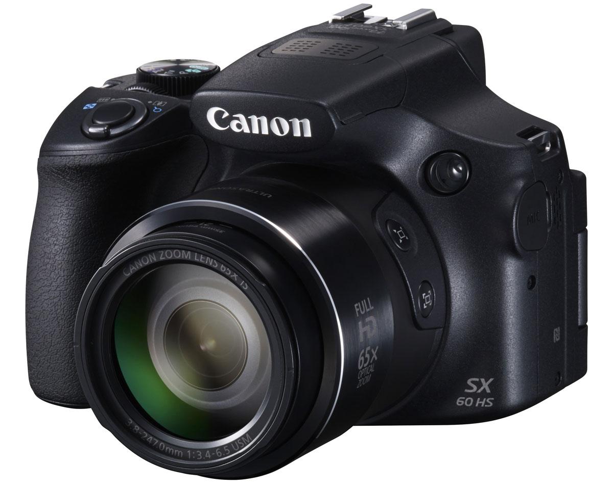 Canon PowerShot SX60 HS цифровая фотокамера9543B002Canon PowerShot SX60 HS - универсальная фотокамера с максимально высокой детализацией, зумом 65x и поддержкой Wi-Fi. Делайте снимки днем и ночью такими, какими вы их задумали. Система HS Canon — с процессором DIGIC 6 и датчиком CMOS с разрешением 16,1 МП — обеспечивает превосходное качество снимков и не имеет себе равных в условиях низкой освещенности. Поэтому с ее помощью легко запечатлеть подлинную атмосферу события без использования вспышки или штатива. Раскройте свой творческий потенциал. Снимайте фотографии и видеоролики в режиме полного управления экспозицией. Откройте для себя новые возможности с форматом RAW и аксессуарами для системы EOS. Снимайте самые разные объекты и получайте великолепные фотографии. Потрясающий 21-мм сверхширокоугольный объектив с зумом 65x подходит для съемки любых объектов, от дикой природы с максимальным приближением до впечатляющих пейзажей. Наслаждайтесь длительной съемкой и четкими снимками даже при...