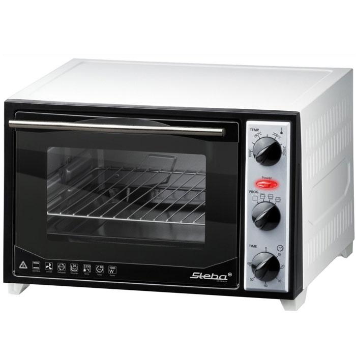 Steba KB 27 мини-печьKB 27Мини-печь Steba KB 27 U2 предназначена для приготовления горячих блюд, которая вполне может заменить стандартный духовой шкаф. Общий объем камеры равен 20 л, что позволяет приготовить ужин для всей семьи. Верхний и нижний гриль, включаются по одному или совместно. Селектор температуры для различных режимов работы (от 100°C до 250°C). Мини-печь выполнены из металла, а дверца из двойного термостойкого стекла. В комплект входит противень с эмалированным покрытием, сетка гриля, вертел. Внутренний размер печи: 31 х 30 х 22 см