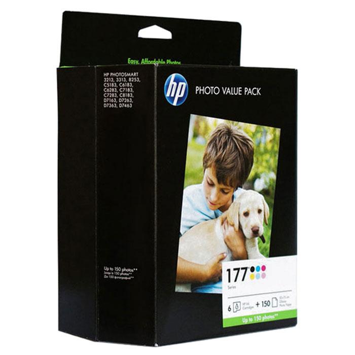 HP Q7967HE (177), Six-color картридж для струйного принтераQ7967HEЭкономичный набор для фотопечати HP Q7967HE (177) с 6 картриджами HP 177 плюс 150 листов глянцевой фотобумаги (210 г/м2) формата 10 x 15 см.