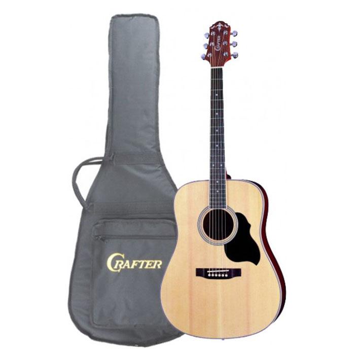 Crafter MD-40/N акустическая гитара + чехолMD 40/NАкустическая гитара Crafter MD-40/N - это модель из, пожалуй, самой популярной серии гитар Crafter! Эти инструменты, имеют верхнюю деку из шпона ели, что обеспечивает им значительно более привлекательную стоимость. Не стоит относиться к этому предвзято, правильно сделанная фирменная гитара звучит так же хорошо, а может быть и лучше, чем большинство «ноу-нэйм» инструментов с верхней декой из массива. Более того, шпон гораздо менее капризен и подвержен влиянию влаги и температуры. Нижняя дека и обечайки гитары изготовлены из красного дерева, которое не только хорошо сочетается с елью внешне, но и дополняет её яркий прозрачный звук своей теплотой и певучестью. Натуральный цвет инструмента с прозрачным глянцевым лаком хорошо передает естественную красоту дерева, гармонично сочетаясь с любой окружающей обстановкой. Форма корпуса «дредноут» - это, пожалуй, самая популярная форма акустических гитар. Разработанный компанией Martin в 20-х годах прошлого...