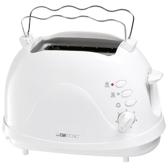 Clatronic TA 3, White тостерTA 3 weisClatronic TA 3 - компактный тостер с оригинальным дизайном в термоизолированном корпусе. Прибор позволяет выставить 7 различных степеней обжаривания для тостов. Доступна плавная регулировка степени поджаривания и другие функции современных тостеров: центрирование, размораживание, подогрев, а также экстра-подъем тостов.