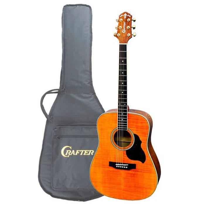 Crafter MD-60/AM акустическая гитара + чехолMD 60/AMАкустическая гитара Crafter MD-60/AM - это потрясающий инструмент, который сочетает в себе превосходный внешний вид, отличный звук и достаточно привлекательную цену. Как и у других гитар серии MD, корпус данной модели сделан из шпона. Не стоит относиться к этому предвзято, правильно сделанная фирменная гитара звучит так же хорошо, а может быть и лучше, чем большинство «ноу-нэйм» инструментов с верхней декой из массива. Более того, шпон гораздо менее капризен и подвержен влиянию влаги и температуры. Особенным же делает этот инструмент выбор древесины. Верхняя дека Crafter MD-60/AM сделана из тигрового клена, который сам по себе совсем не часто используется для производства дек акустических гитар. Плотный и твердый клен звучит ярко и звонко, а его красивая структура хорошо видна под прозрачной краской янтарного цвета с глянцевым лаком. Обечайки и нижняя дека выполнены из ясеня, который гораздо чаще используется для дек электрогитар чем «акустик», но при этом...