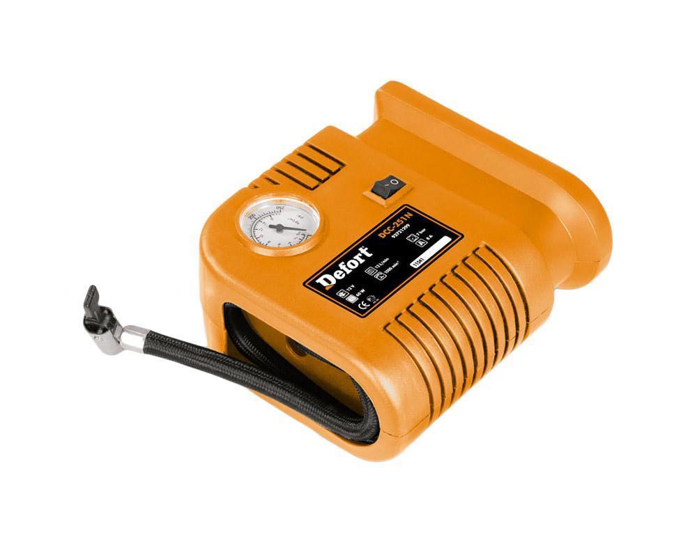Компрессор автомобильный Defort. DCC-251N93728328Автомобильный компрессор Defort применяется для накачки автомобильных шин, мячей, надувных матрасов, велосипедных шин и т.д. Компрессор оснащен манометром и штекером для подключения к 12-вольтовому разъему прикуривателя автомобиля. Преимущества: - воздушный шланг с клапаном быстрого подсоединения, - отсек в корпусе для хранения насадок, - укладка шланга и кабеля в корпус. Характеристики: Материал: пластик, металл. Размер компрессора: 16 см х 14 см х 7 см. Напряжение бортовой сети автомобиля: 12 В. Мощность: 60 Вт. Производительность: 12 л/мин. Скорость холостого хода: 1500 об/мин. Максимальное давление на выходе: 7 атм. Максимальное значение: 250 PSI (фунт/дюйм2), 17 BAR (атм, кг/см2). Цена деления: 0,5 BAR (атм, кг/см2). Вес: 0,8 кг. Размер упаковки: 16 см х 17,5 см х 8,5 см. Производитель: Германия. Изготовитель: Китай. Артикул: DCC-251N. SBM group - международная группа компаний,...
