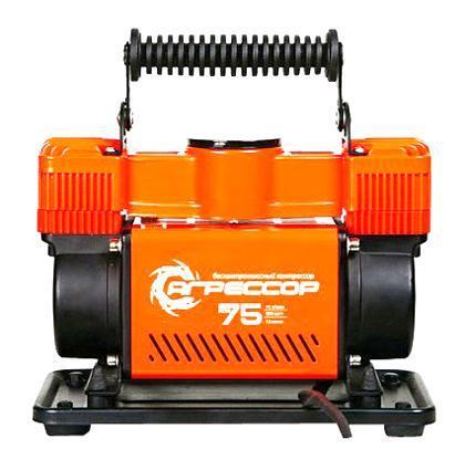 """Компрессор автомобильный """"Агрессор AGR-75"""", металлический, двухпоршневой, производительность 75 л/мин, 12В, 300Вт"""