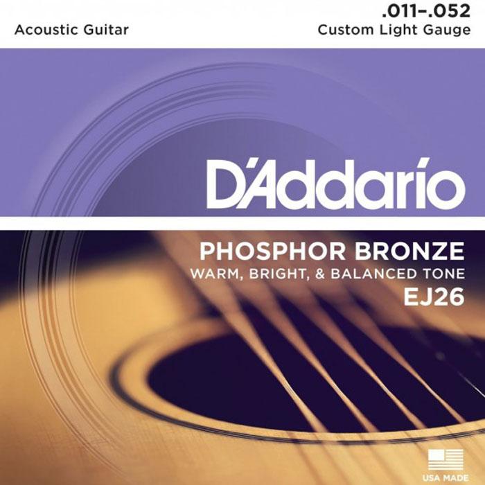 DAddario EJ26 струны для акустической гитарыEJ26Набор струн DAddario EJ26 для акустической гитары. Покрытие струн из фосфорной бронзы дает очень теплый, яркий, хорошо сбалансированный звук. Натяжение: Custom Light Размеры: 0.011-0.015-0.022-0.032-0.042-0.052