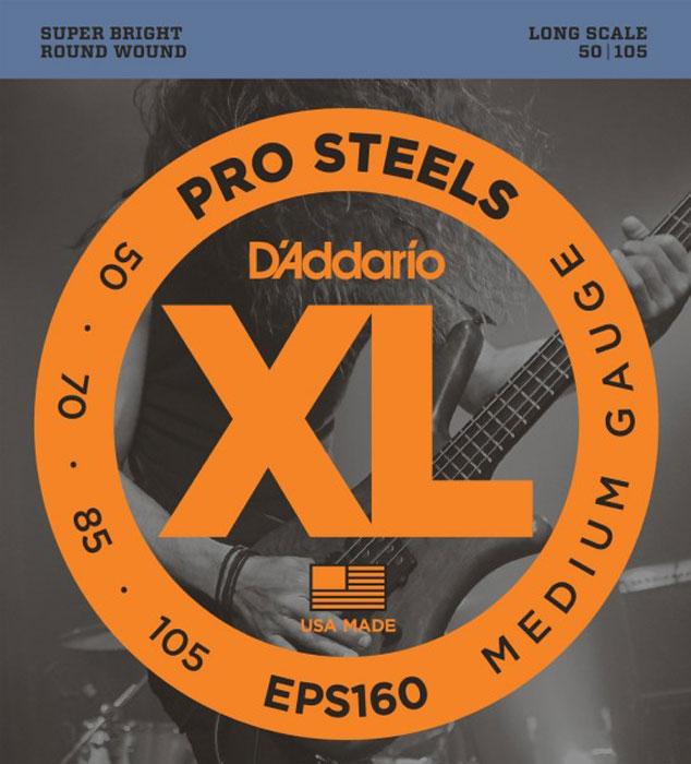 DAddario EPS160 струны для бас-гитарыEPS160Струны для 4-х струнной бас-гитары DAddario EPS160 для бас-гитары отлично подходят как для игры пальцами так и для агрессивной игры медиатором. Прозрачное звучание в верхнем регистре и глубокие низы. Medium Long Scale G-50, D-70, A-85, E-105