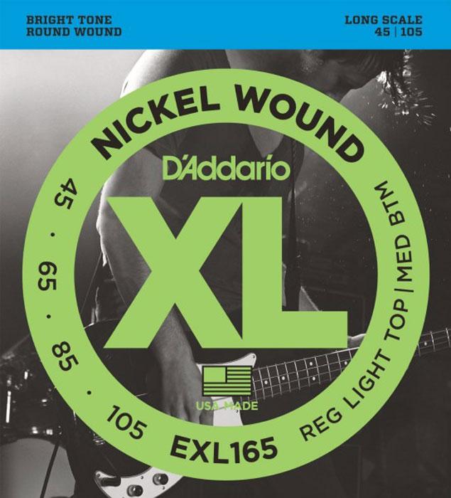 DAddario EXL165 струны для бас-гитарыEXL165Струны DAddario EXL165 для 4-х струнной бас гитары с никелированным покрытием прекрасно подходят для всех стилей. Натяжение: Regular Light Top/Medium bottom Long Scale G-45, D-65, A-85, E-105