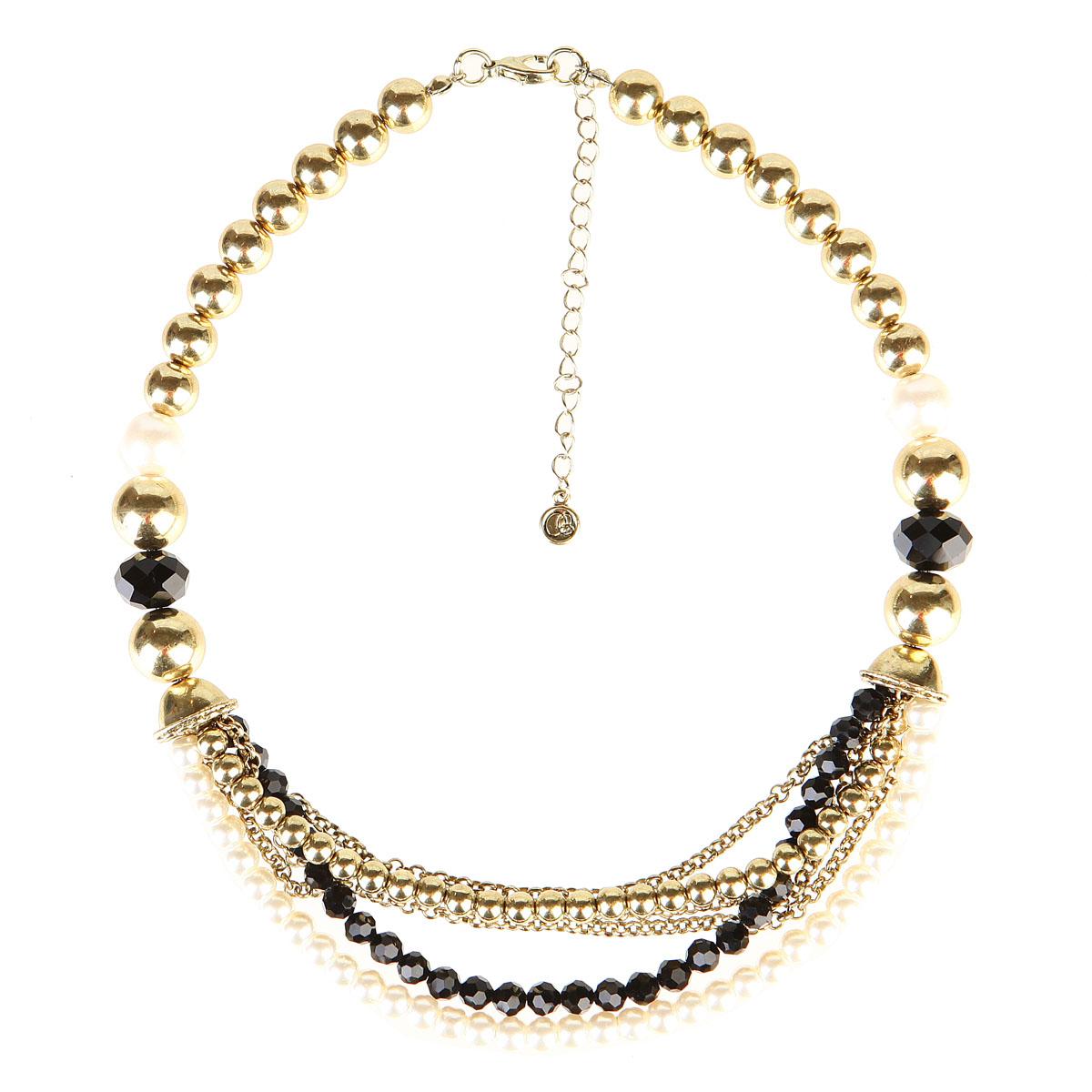 Ожерелье Модные истории, цвет: жемчужный, золотой, черный. 12/0680/99912/0680/999Стильное ожерелье Модные истории изготовлено из металла. Модель оформлена разнообразными бусинами, выполненными из пластика, стекла и металла. Нижняя часть ожерелья дополнена двумя декоративными элементами в форме колоколов, к которым крепятся три тонкие металлические цепочки и три нити с бусинами. На одну нить нанизаны металлические бусины, на вторую - стеклянные, на третью - пластиковые (стилизованные под жемчуг). Изделие застегивается при помощи удобного замка-карабина. Длина ожерелья регулируется за счет цепочки. Изысканное ожерелье добавит женственных ноток в образ и подчеркнет вашу утонченную натуру.