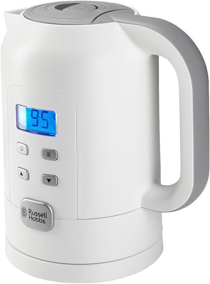 Russell Hobbs 21150-70 электрический чайник21150-70Russell Hobbs разработал чайник, который подогреет или вскипятит воду до соответствующей тому или иному сорту чая, кофе или шоколада температуры. Чайник Precision Control имеет встроенную регулировку температуры с LCD дисплеем, что позволит вам легко установить необходимую температуру от 60° до 100°C. Емкость чайника 1.7 литра, что вполне достаточно для шести чашек, а функция поддержания температуры не даст воде быстро остынуть. База с вращением на 360° будет удобна для пользования чайником как левой, так и правой рукой. Для защиты от попадания накипи в чашку, чайник имеет встроенный фильтр, который легко снять, промыть или поменять. Наслаждайтесь вашими любимыми напитками с чайником Precision Control.