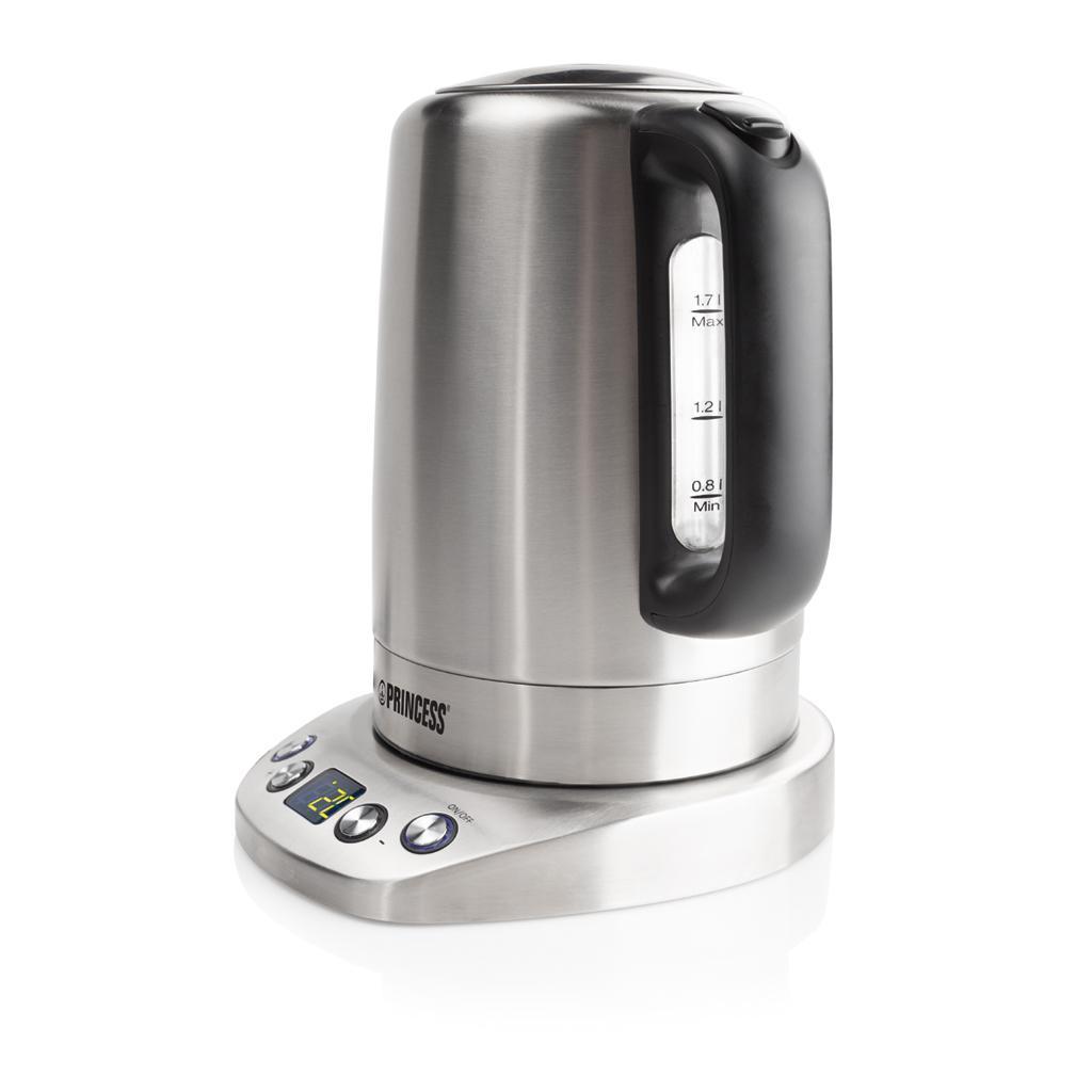 Princess 236002 электрический чайник236002Иногда вам оказывается нужен простой и надежный электрический чайник без излишеств - он должен лишь кипятить воду, но делать это быстро и качественно. Рассмотрите Princess 236002, который имеет объем 1.7 л. Этого вполне достаточно, чтобы чаем и кофе угощались все члены немаленького семейства или небольшого офиса. Мощность 2200 Вт позволит воде закипеть практически моментально. Благодаря индикатору включения вы всегда будете видеть, работает чайник или нет – благо функционирует он с низким уровнем шума, и индикация будет не лишней. А шкала уровня воды поможет определить, когда необходимо подлить еще. Кстати, воду можно заливать прямо через широкий носик, не открывая крышку. Все это очень удобно и практично.