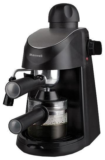 Maxwell MW-1655(BK) кофеварка1655BKКофеварка MW-1655 BK от Maxwell обязательно вдохновит вас на весь день! Стильный дизайн и возможность готовить любимые готовые напитки – вот, что нужно настоящим кофеманам. Одним нажатием пальца на соответствующую кнопку вы приготовите кофе, превосходный латте, эспрессо, воздушный капучино или вкуснейший горячий шоколад в считанные секунды! Объем резервуара для воды объемом 200 мл позволит одновременно приготовить кофе сразу на 4 чашки. А наличие капучинатора значительно облегчит работу при приготовлении капучино или латте: теперь вы можете создать великолепную молочную пенку для любимых напитков. Модель также оснащена функцией подогрева чашек и съемным поддоном для капель, что позволяет легко ухаживать за кофеваркой. Для вашего удобства в комплекте прилагается мерная ложечка.