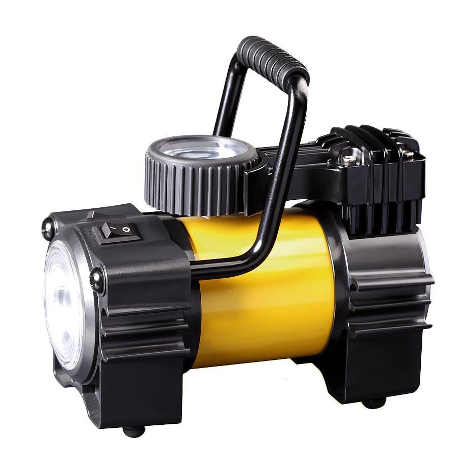 Компрессор автомобильный КАЧОК K90 LEDK90LEDТехнические характеристики компрессора автомобильного Качок К 90 LED Допустимое напряжение: 10-13,5 В Максимальный ток потребления: 12 А Максимальное давление: 10 Атм. (кг/см2) Время непрерывной работы: 30 мин. Производительность: 40 л/мин. Рабочая температура: -35°С +80°С Масса: 2,5 кг Навинчивающаяся насадка на ниппель колеса Подключение в прикуриватель Спускной клапан – DEFLATOR Яркий светодиодный фонарь – 4 светодиода Встроенный плавкий предохранитель - 15A Комплект поставки: Компрессор Качок К90LED Переносная сумка для хранения Набор переходных штуцеров - 4 штуки Инструкция по эксплуатации Упаковочная коробка Материал: металл, пластик; цвет: желтый Материал: металл, пластик; цвет: желтый