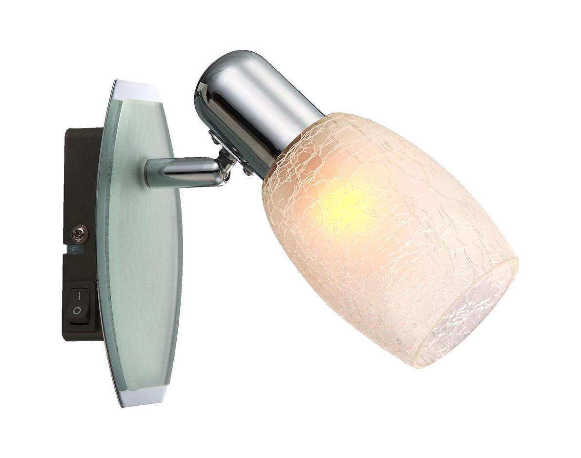 54917-1 Настенно-потолочный светильник CYCLONE54917-1Споты GLOBO 54917-1 в стиле классика создают теплую, простую и уютную обстановку, отлично впишутся в дизайн спальни. Металлическое основание цвета хрома, материал плафона из стекла. Точечный светильник с максимальной мощностью 40W осветит комнату, площадью 2 кв.м. Материал: Арматура: Металл/Плафон: Стекло Цвет: Арматура: Серебристый/Плафон: Белый Размер: 7,5х16,5х14 Материал: Арматура: Металл/Плафон: Стекло Цвет: Арматура: Серебристый/Плафон: Белый Размер: 7,5х16,5х14