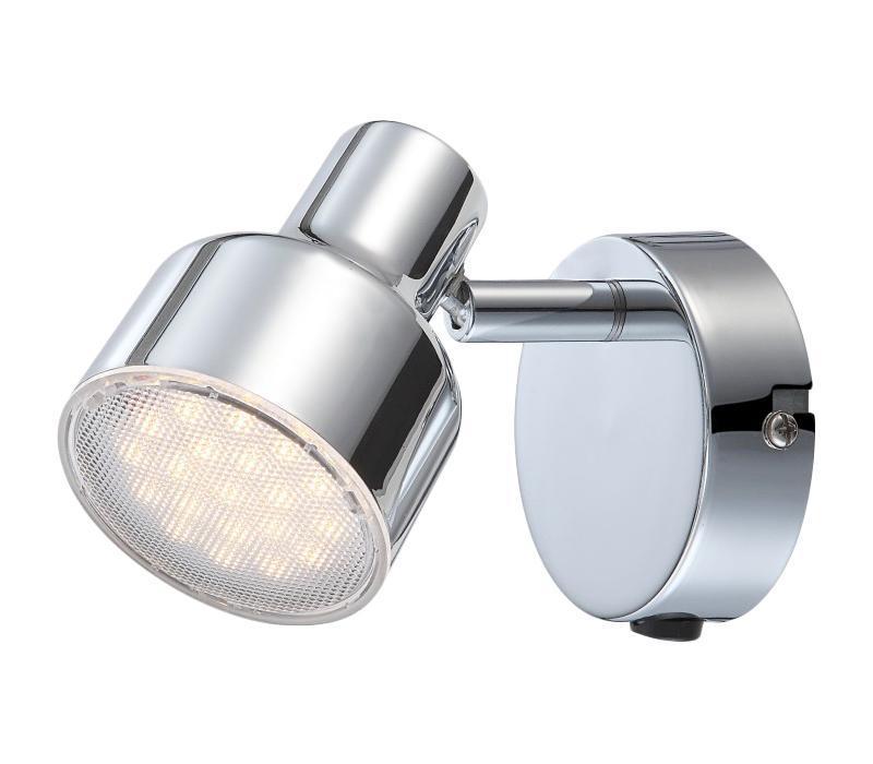 56213-1 ROIS Бра56213-1Споты ROIS 56213-1 в стиле модерн достаточно популярны, идеально подойдут при оформлении интерьера спальни. Металлическое основание серого цвета, материал плафона из пластика. Точечный светильник с максимальной мощностью 4W осветит комнату, площадью 1 кв.м. Материал: Арматура: Металл / Плафон: Пластик Цвет: Арматура: Серебристый / Плафон: Прозрачный Размер: 8х8х10 Материал: Арматура: Металл / Плафон: Пластик Цвет: Арматура: Серебристый / Плафон: Прозрачный Размер: 8х8х10