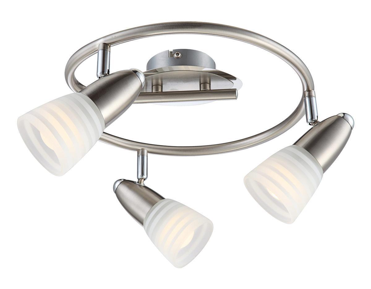 54536-3 CALEB Спот54536-3Споты CALEB 54536-3 в стиле модерн - идеальный вариант для оформления элегантного интерьера спальни. Металлическое основание серого цвета превосходно сочетается с плафоном из стекла. Точечный светильник с максимальной мощностью 12W осветит комнату, площадью 2 кв.м.