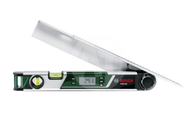 Цифровой угломер Bosch PAM 2200603676020Цифровой угломер PAM 220 Простое и удобное решение для измерения,расчета и переноса углов Надежные результаты измерения с точностью 0,2° Встроенные функции вычисления для точного расчета простых и сдвоенных углов скоса Практичная удлинительная линейка для измерения в труднодоступных местах Функция Hold для сохранения текущего результата измерения Расчет дополнительного угла (180°) при работе с удлинительной линейкой Дисплей с подсветкой для удобства работы Горизонтальный и вертикальный уровни для ручного нивелирования Принцип действия: Цифровой Функции: PAM 220 превосходит по возможностям ручные измерители углов и обеспечивает точные и надёжные результаты измерений. Встроенные функции расчёта помогают пользователям вычислить простые и сложные углы быстро и без каких-либо ошибок Точность: 0,2°, Диапазон измерений: 0° - 220°, Минимальное величина измерения: 0,1°, Длина: 400 мм, Кол-во пузырьковых уровней: 2