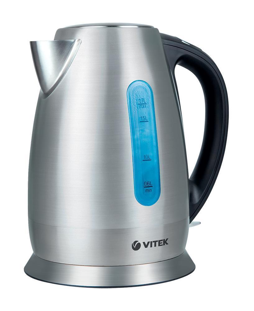 Vitek VT-7024(SR) электрический чайникVT-7024(SR)Ваши любимые горячие напитки станут еще вкуснее, если вы будете кипятить воду в «правильном» электрочайнике. Сделать это легко, быстро и качественно позволит ваш верный помощник электрочайник VT-7018. Выполненный в классическом дизайне, с корпусом из нержавеющей стали, чайник превратится в любимый аксессуар на кухне с любым стилем интерьера. Благодаря мощности 2200 Вт вы вскипятите воду в считанные минуты в, а объем 1,7 л идеально подходит, чтобы радовать всю семью или компанию гостей вкуснейшим чаем. Преимущество данной модели в том, что корпус, крышка и база выполнены из высококачественной нержавеющей стали – это позволит сохранить воде все полезные свойства, а также продлить службу чайника. Устройство также оснащено сертифицированным английским контроллером OTTER – он защищает чайник от перегрева и включения без воды, гарантируя более долгий срок службы. Скрытый нагревательный элемент обеспечивает безопасность во время работы устройства, а также легкий уход за ним. Специальная...