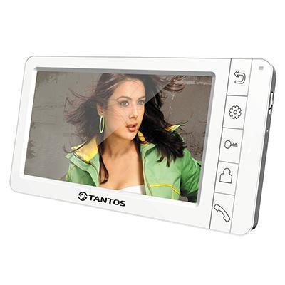 Tantos Amelie, White монитор видеодомофона00-00014983Tantos Amelie white - простой и изящный видеодомофон в белом цвете с большим цветным экраном Amelie. Видеодомофон Tantos Amelie оснащен экраном размером 7, имеет возможность подключения до 2-х вызывных панелей и еще 2-х дополнительных камер. Крепится на стену накладным способом, на кронштейн, который идет в комплекте поставки. Габариты 210 х 116 х 25 мм. Модель выполнена в белом цвете. Она совместима со всеми современными цветными вызывными панелями. Питание монитора осуществляется от сети 220В. Связь осуществляется по принципу Hands Free (громкая, без трубки). Управление видеодомофоном осуществляется кнопками на передней панели. Меню полностью на русском языке, поддерживает подключение до 4-х мониторов параллельно. Так же возможно подключение к подъездному домофону с помощью модуля сопряжения.