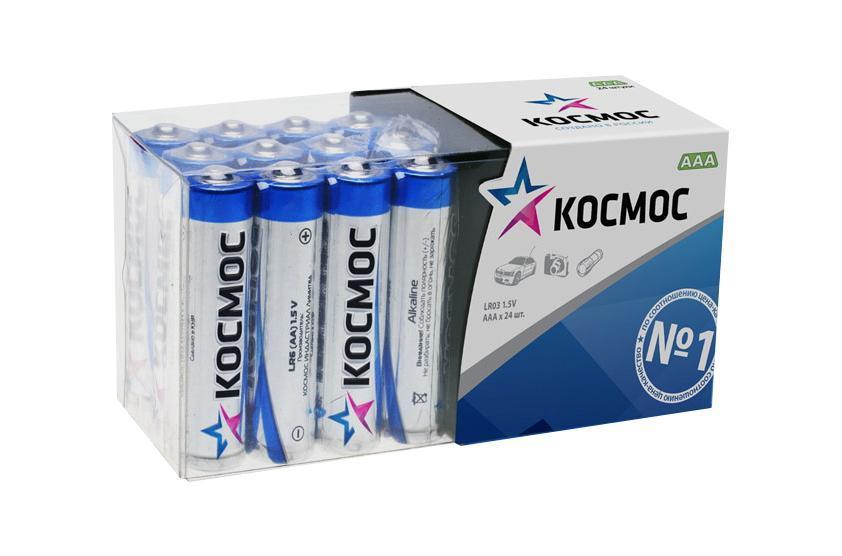 Набор алкалиновых батареек KOSMOS, тип LR03 (ААА), 24 штKOCLR03_24BOXАлкалиновые элементы питания KOSMOS специально разработаны для приборов с высоким энергопотреблением. Одна алкалиновая батарейка заменяет до 10 обычных (солевых батареек). Не содержат кадмия и ртути. Батареи отлично подойдут для использования в различных электронных устройствах небольшого размера, например в пультах дистанционного управления, портативных MP3-плеерах, фотоаппаратах, различных беспроводных устройствах.