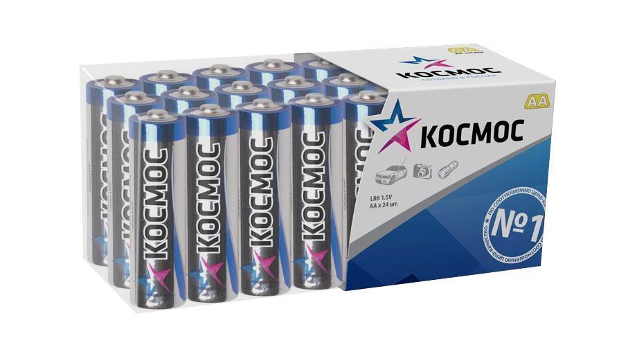 Набор алкалиновых батареек KOSMOS, тип LR6 (АА), 24 штKOCLR6_24BOXАлкалиновые элементы питания KOSMOS специально разработаны для приборов с высоким энергопотреблением. Одна алкалиновая батарейка заменяет до 10 обычных (солевых батареек). Не содержат кадмия и ртути. Батареи отлично подойдут для использования в различных электронных устройствах небольшого размера, например в пультах дистанционного управления, портативных MP3-плеерах, фотоаппаратах, различных беспроводных устройствах. Характеристики: Тип элемента питания: AA (LR6). Тип электролита: щелочной. Выходное напряжение: 1,5 В. Комплектация: 24 шт. Размеры батареек: 5 см x 1,5 см x 1,5 см. Размер упаковки: 4,5 см x 11,5 см x 5 см. Характеристики: Тип элемента питания: AA (LR6). Тип электролита: щелочной. Выходное напряжение: 1,5 В. Комплектация: 24 шт. Размеры батареек: 5 см x 1,5 см x 1,5 см. Размер упаковки: 4,5 см x 11,5 см x 5 см.