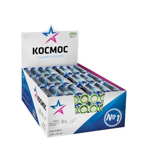 Набор алкалиновых батареек KOSMOS, тип LR03 (ААА), 96 штKOCLR03_96BOXАлкалиновые элементы питания KOSMOS специально разработаны для приборов с высоким энергопотреблением. Одна алкалиновая батарейка заменяет до 10 обычных (солевых батареек). Не содержат кадмия и ртути. Батареи отлично подойдут для использования в различных электронных устройствах небольшого размера, например в пультах дистанционного управления, портативных MP3-плеерах, фотоаппаратах, различных беспроводных устройствах.