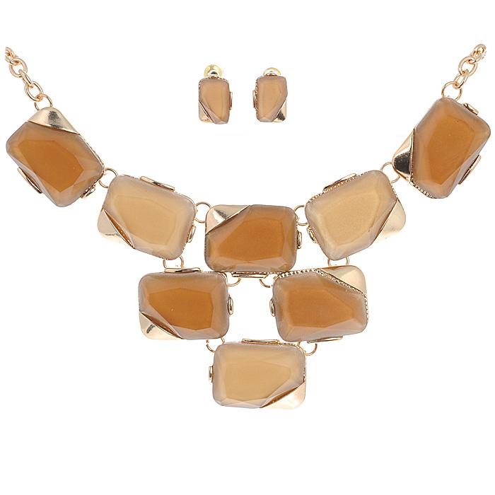 Комплект украшений 'AtStyle247': колье, серьги, цвет: коричневый, песочный. T-B-8452-SET-GD.BROWN