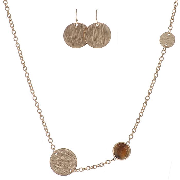 Комплект украшений 'AtStyle247': цепочка, серьги, цвет: золотой, коричневый. T-B-8483-SET-GD.BROWN