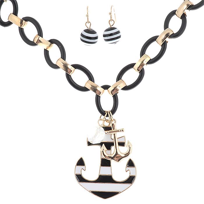 Комплект украшений 'AtStyle247': колье, серьги, цвет: золотой, черный, белый. T-B-8455-SET-GD.BLACK