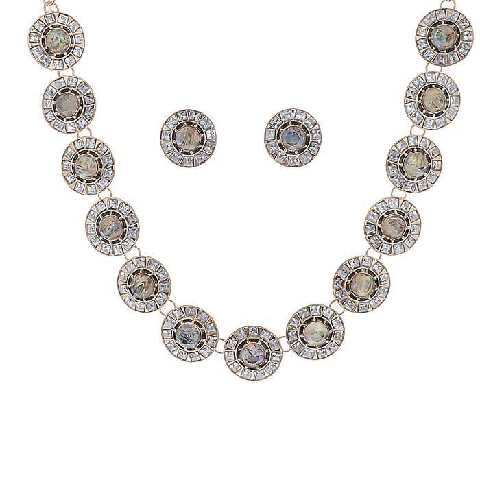 Комплект украшений 'AtStyle247': колье, серьги, цвет: золотистый, белый. T-B-8502-SET-GD.ABALONE