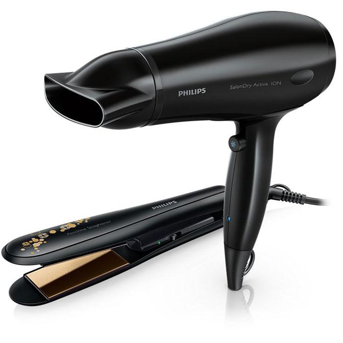 Philips HP8646/00 фен + выпрямительHP8646/00Набор для создания причесок Philips HP8646/00 с феном и профессиональным выпрямителем волос — специальный дизайн в подарочной упаковке. Высокая температура укладки позволяет создать любую прическу и придать волосам великолепный вид. Керамика — это необычайно гладкий и прочный материал, поэтому он лучше всего подходит для изготовления выпрямляющих пластин. Керамические пластины проходят тщательную обработку, благодаря чему достигается улучшенное скольжение и сохраняются защитные свойства материала — для здоровых и блестящих волос. Сверхширокие выпрямляющие пластины созданы специально для густых и длинных волос. Это позволяет захватывать более широкие пряди, таким образом сокращая время укладки.